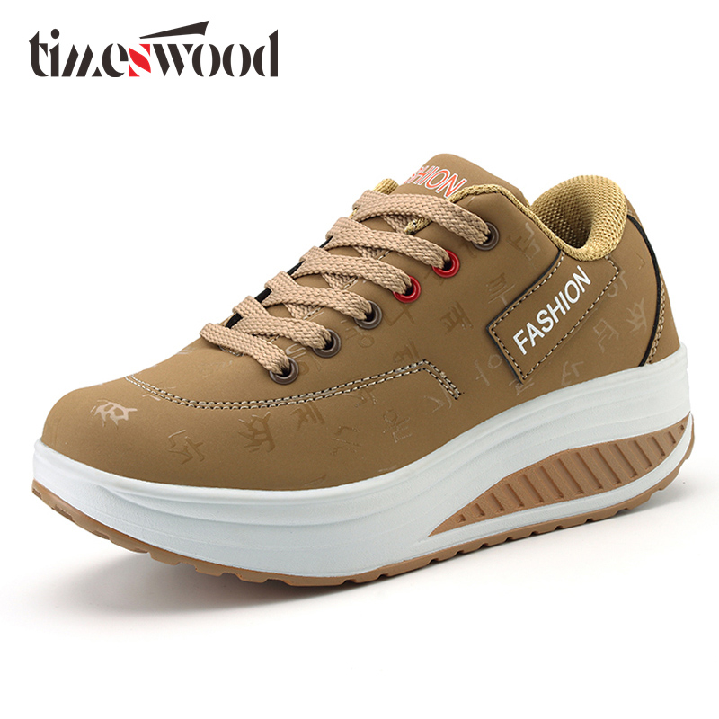 TIMESWOOD 2018 New Pu Leather Women Shoes Letter Casual Comfortable Shook His Slimming Female Shoe Fashion Muffin Elevator Shoe