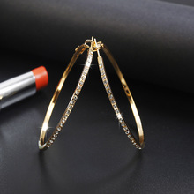 WNGMNGL Fashion Exaggerated Big Round Circle Crystal Hoop Earrings Simple Gold Sliver Color Earrings For Women Party Jewelry