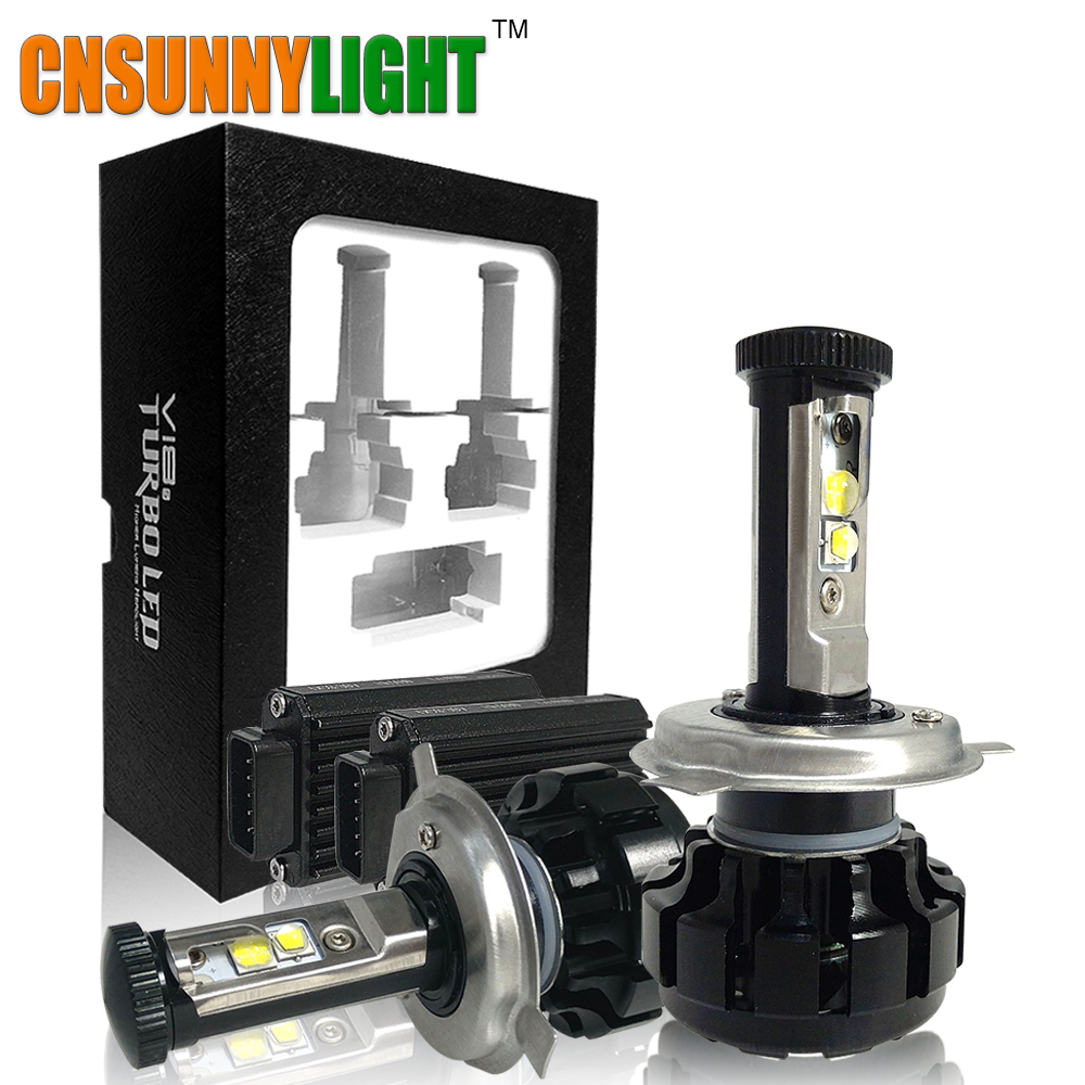 CNSUNNYLIGHT Super Bright Motorsykkel LED Headlight Kit H7 PX26D H4 P43T PX43T HS1 H6-3 H11 / H8 Hvit 6000K Turbo Replacement Pærer