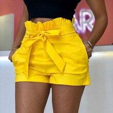 S-5XL Oversized Short Women Summer Loose Pants Beach Fashion Pockets Wide-leg Casual Ruffles Pant Yellow Blue Belt