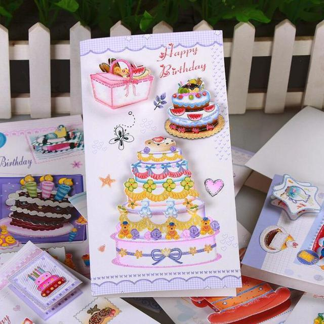 8pcs Lot Birthday Cake Print Paper Card Student Bless Greeting Christmas Party Message Gift