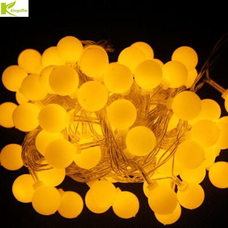 Kingoffer 20M 200 LED Ball Fairy String Lights Lamp Garlands For Christmas Tree Xmas Holiday Wedding Garden Decoration 110V 220V 20 led bubble ball shaped christmas tree string lights decorated colored lamp