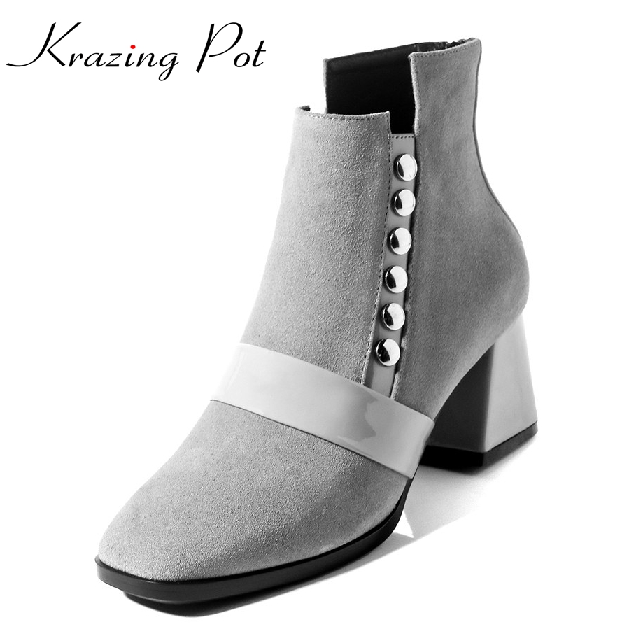 Krazing Pot cow suede rivets winter shoes black thick high heels women ankle boots square toe lady warm solid European boots L03 2018 fashion winter shoes cow suede high heels solid pointed toe zipper handmade warm european style sweet women ankle boots l26