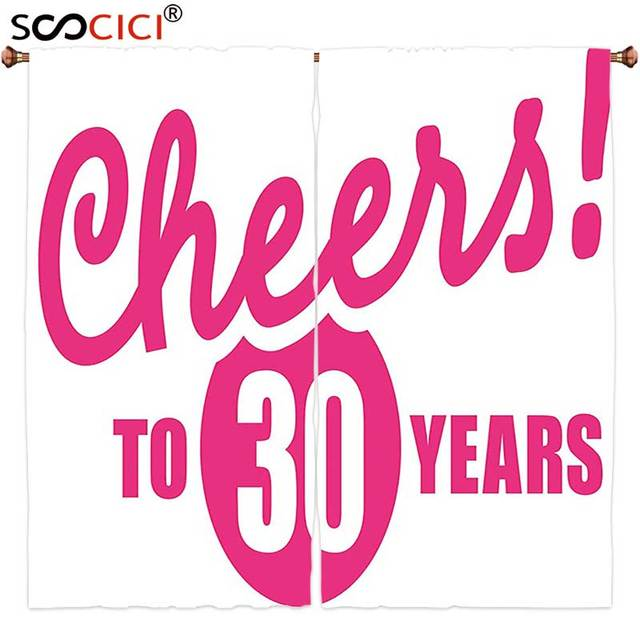 Window Curtains Treatments 2 Panels30th Birthday Decorations Cheerful Happy Special Celebration Stylized Icon In