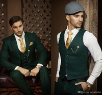 Custom Design One Button Dark Green Groom Tuxedos Groomsmen Mens Wedding Suits Prom Bridegroom (Jacket+Pants+Vest+Tie) NO:564