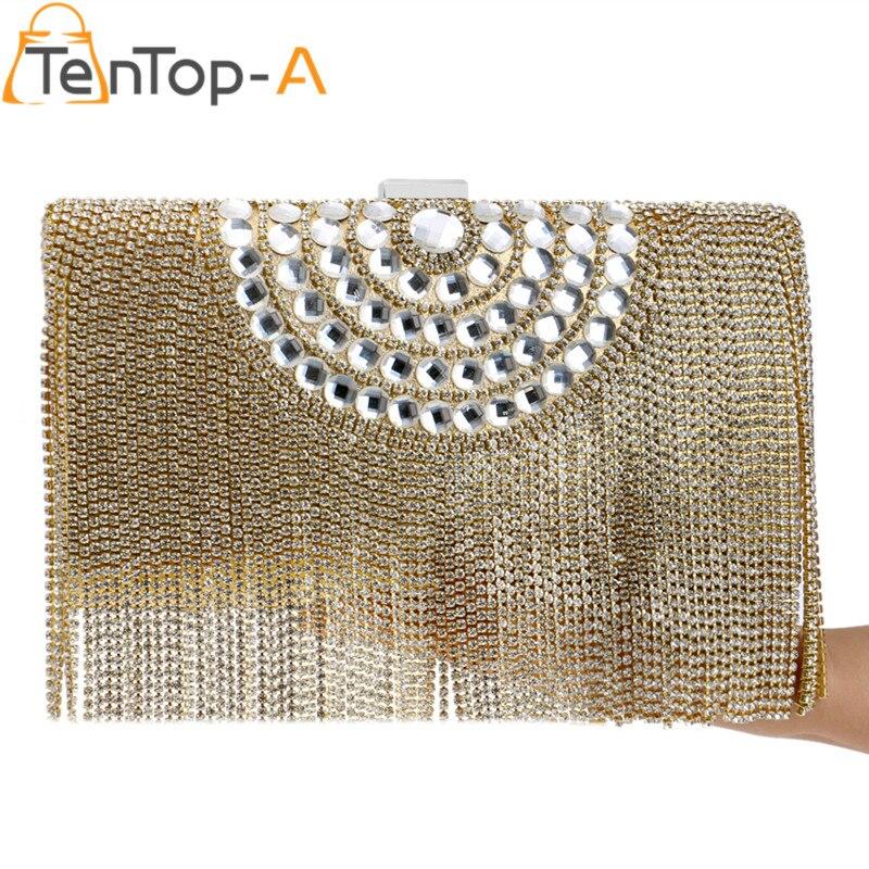 TenTop-Un Nuevo Lujo Crystal Rhinestone Embragues Bolsos de Noche de Diamantes G