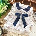 2017 marca dress para las niñas de algodón ropa de malla grande arco bebés niza floral flores de encaje vestidos de fiesta bebek elbiseleri