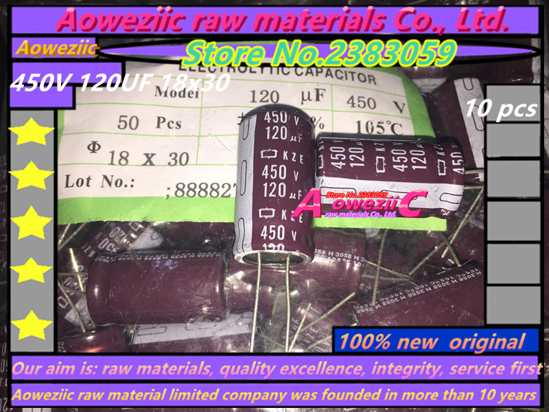 Aoweziic 10 PCS 450V 120UF 18x30 high frequency low resistance electrolytic capacitor 120UF 450V 18*30 image