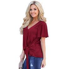 Summer Women short T-shirt V-neck Solid color tops plus size bow high street puff sleeve New women clothing 2019
