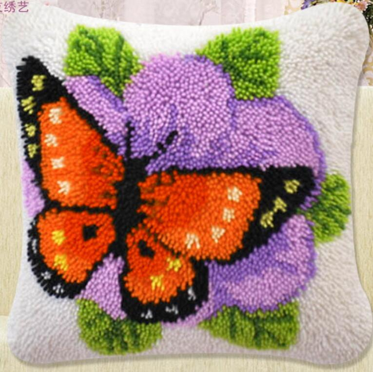 diy handkerchief knitted carpet unfinished pillow embroidery carpet free shipping Latch Hook Hold pillow animal The butterfly