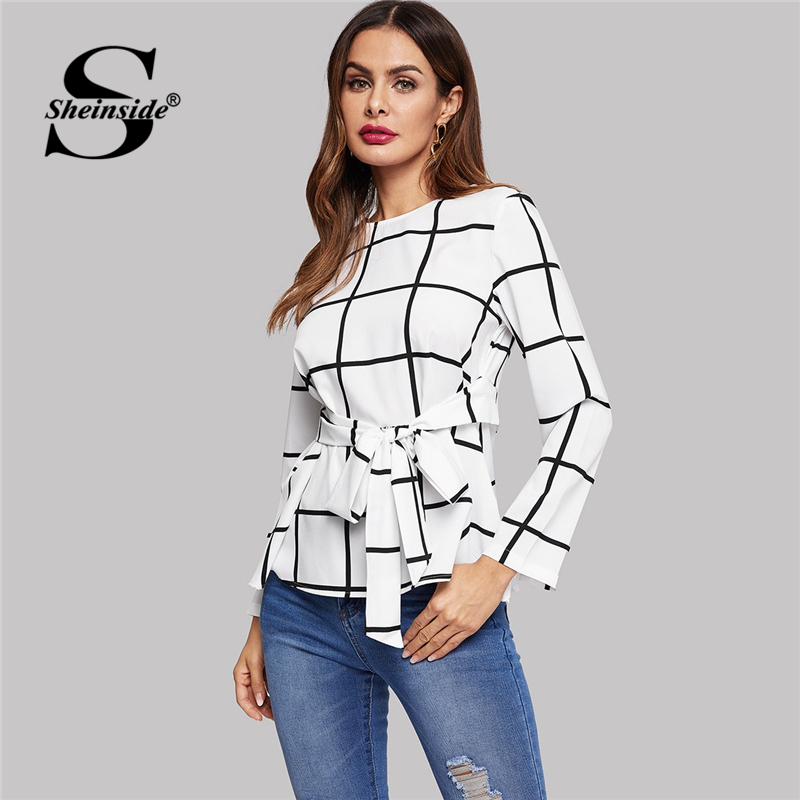 Sheinside Beige Elegant Keyhole Back Belted Grid Top Women Plaid   Blouse     Shirt   Ladies OL Work Long Sleeve Womens Tops And   Blouses