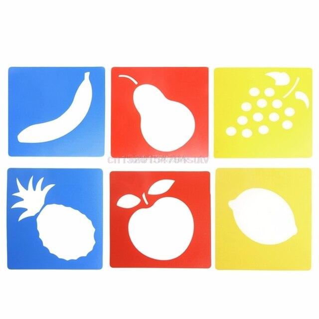 6 unids Plastic Fruit forma dibujo plantilla stencils Reglas pintura ...