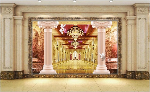 3d wallpaper room picture Roman pillars lobby home decor painting ...
