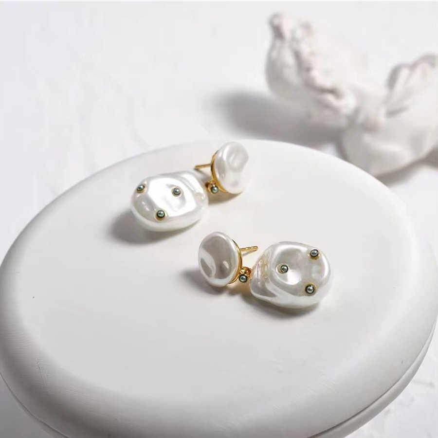 2019 แฟชั่นดูไบเครื่องประดับ Gold 585 Dangle Baroque Pearl Inlay เพิร์ลพู่ต่างหูยี่ห้อ Bijoux Femme ใหม่ Brincos