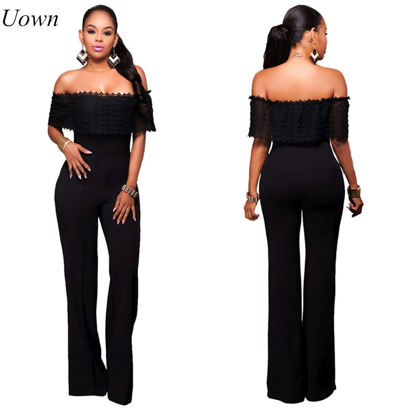 Jumpsuit Romper Summer Sexy Women Off the Shoulder Trousers Long Pants Overall macacao feminino Lace Lady Jumpsuit Elegant