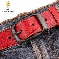 FAJARINA Quality Unique Fashion Unisex Retro Belts Jeans Mens Black Red Brown Geunine Leather 33mm Belt