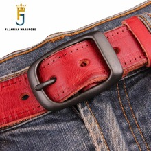 FAJARINA Quality Unique Fashion Unisex Retro Belts Jeans Mens Black Red Brown Geunine Leather 33mm Belt for Men Women N17FJ179 2017 luxury quality fashion retro patch mens hole jeans high quality men trousers skinny ripped distressed jeans denim pants