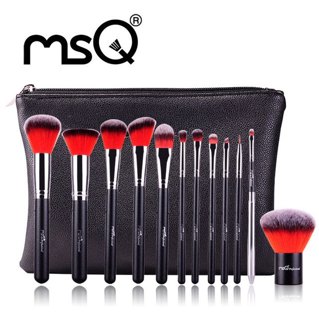 2016 New Arrival 4 Color 12pcs/set Professional Cosmetic Eyebrow Shadow Makeup Cosmetic Wood Brush Tool Set Pouch Case with Bag