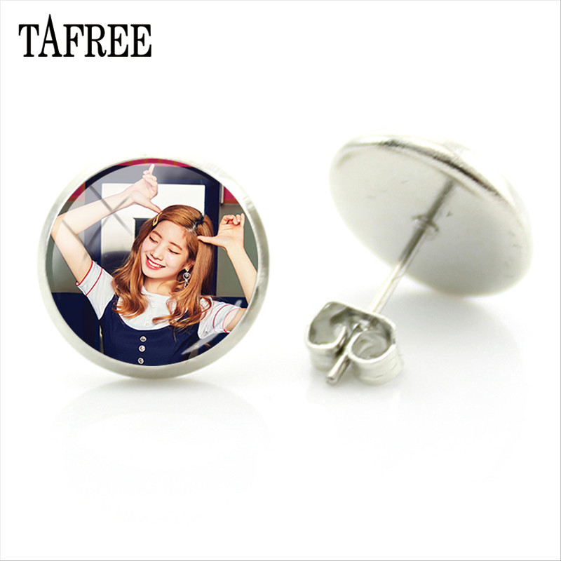 US $0 66 34% OFF TAFREE New Arrival Kpop TWICE Singers Earrings Glass  Cabochon Photo Silver Color Stud Earrings Fans Wedding Engagement Gift  TC30-in