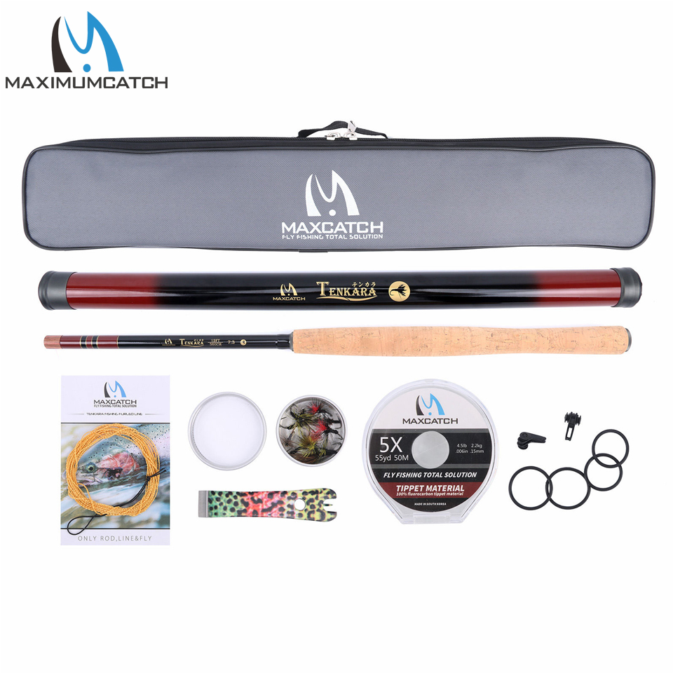 Maximumcatch 12FT Tenkara Fly Rod & Accessories Complete Kit Fishing Leader Line Flies Carry Case