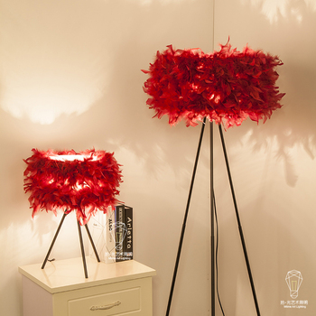 New fashion design wedding room table lamp warm living room bedroom bed lamp feather lamp ZL355