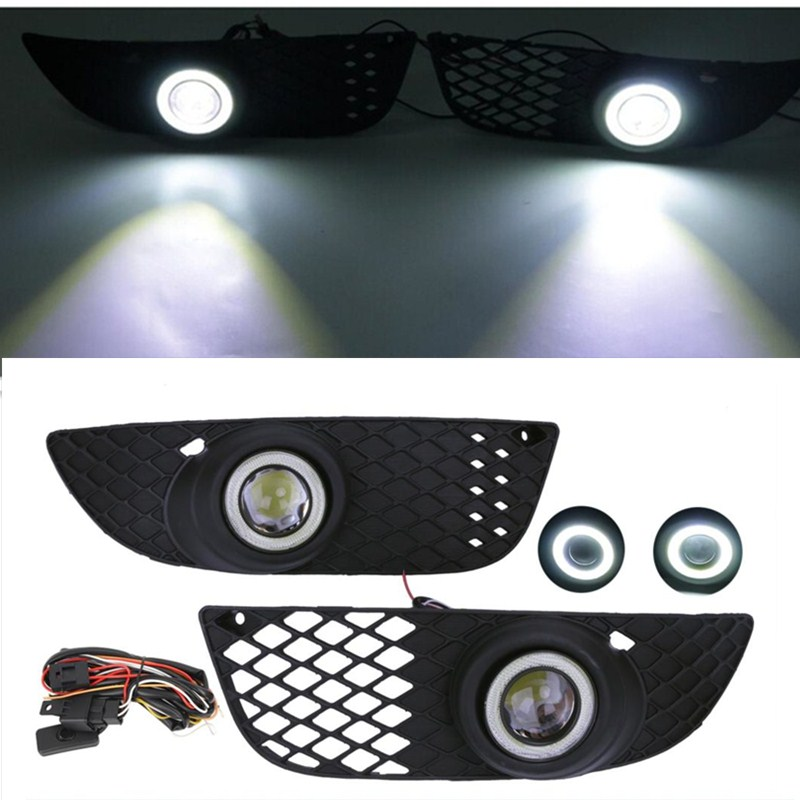 For Mitsubishi Lancer Fog Lights Grille Lamps Front Lower Side Bumper Angel Eyes LED Convex lens 2008-2015 // front bumper fog lamp grille led convex lens fog light angel eyes for vw polo 2001 2002 2003 2004 2005 drl car accessory p364
