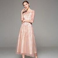 Luxury Women New 2018 Autumn Evening Party Elegant Long Dresses Women Allover Tulle Lace Embroidery Maxi Dress Longo Festa XXL