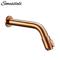 Smesiteli Modern Wall Mounted Rose Gold Basin Faucet Single Handle Round Brass Bathroom Faucet Bathroom Accessories Cold Water