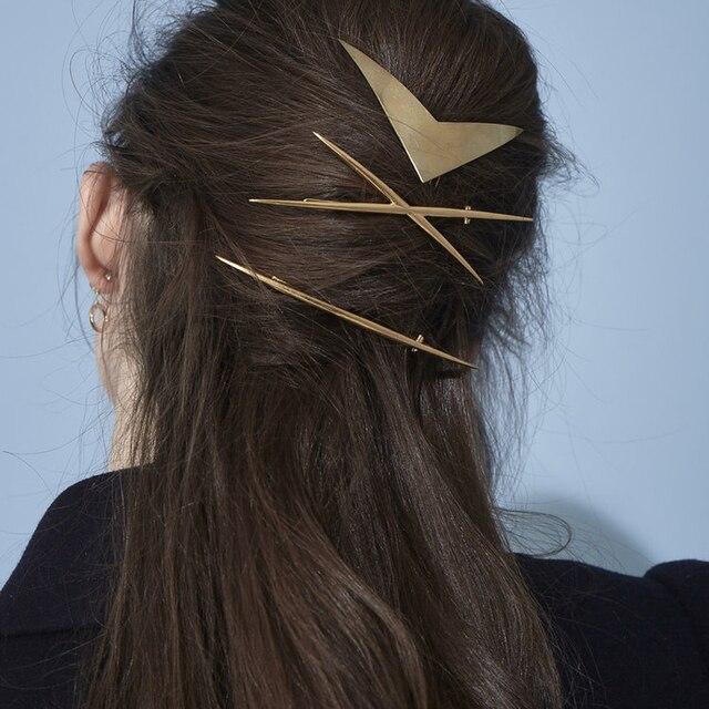Купить модные металлические заколки для волос chimera золотые геометрические