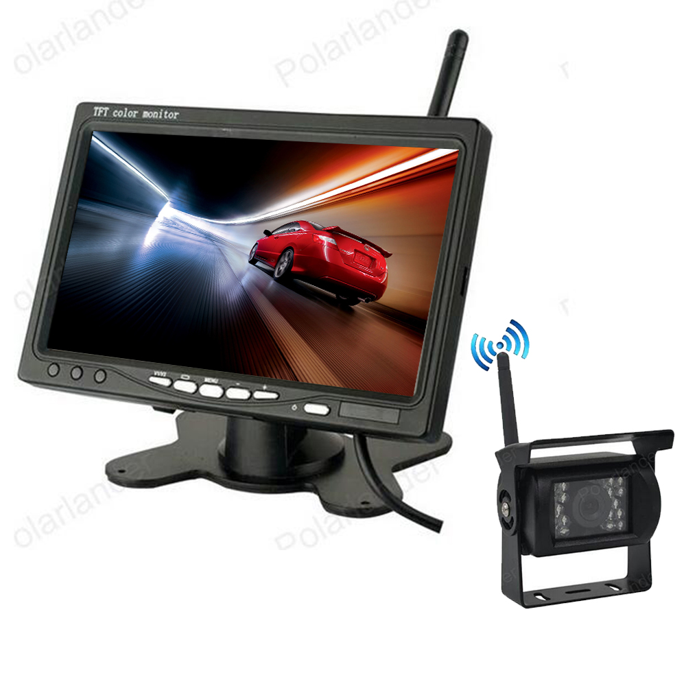 7 inch Wireless Car Monitor TFT LCD display screen with 18 LED Night Vision Rear View reverse Parking Camera for Truck 24V diykit ir night vision ccd rear view car camera white 7 inch hd tft lcd car monitor reverse rear view monitor screen