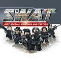 Hot City heroes Super policía swat con armas de bloques de construcción ladrillos compatibles legoeinglys. juguetes para niños regalos 6 Unids/lote