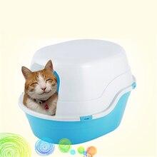 Enclosed Large Cat Toilet Closed In Health Supplies Plastic Cat Box Toilet Litter BedPan Sand Pets Basin WC Trays Nip QQM2384