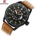 Moda de lujo Top Brand NAVIFORCE ver hombres reloj de cuarzo fecha cuero genuino deportes militares relojes de pulsera para hombre Relogios Masculinos