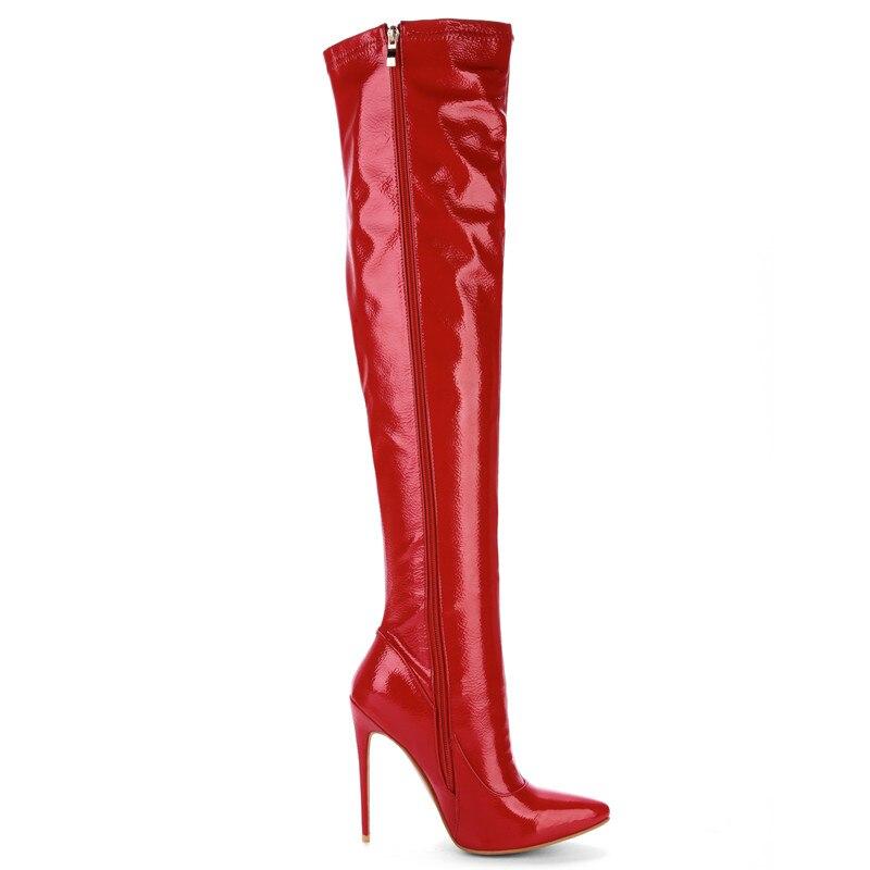 Fetiche Muslo Tacón Zapatos Botas Prova Mujeres Rodilla red white Perfetto Sobre Alto Extrema En De 48 La Mujer Club Baile Black Nocturno Tamaño Plus Del Fiesta TBXPZB
