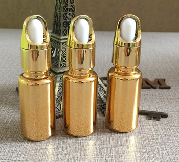 50pieces/lot 15ml High temperature gold plated dropper bottle, dropper container 15 ml  glass essentical oil bottle wholesale