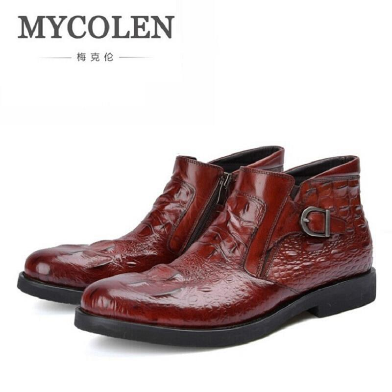 MYCOLEN 2017 Men Ankle Boots Crocodile Pattern Leather Men Boots Outdoor Men Chelsea Boots Fashion Men Winter bota Shoes