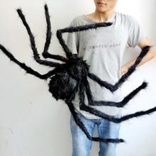 1 pz/lotto di Halloween Prop Orrore Nero Colorato Ragno E Web Peluche Giocattoli Ingannevoli Per Il Partito Della Decorazione di Evento