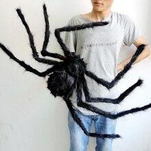1 sztuk/partia rekwizyt halloweenowy Horror czarny kolorowy pająk i Web pluszowe zabawki do robienia sztuczek na imprezę dekoracje na imprezy okolicznościowe