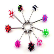 Wholesale 100Pcs/lot 316L Surgical Stainless Steel Ball Tongue Ring Acrylic Spike Ear Piercing Body Jewelry