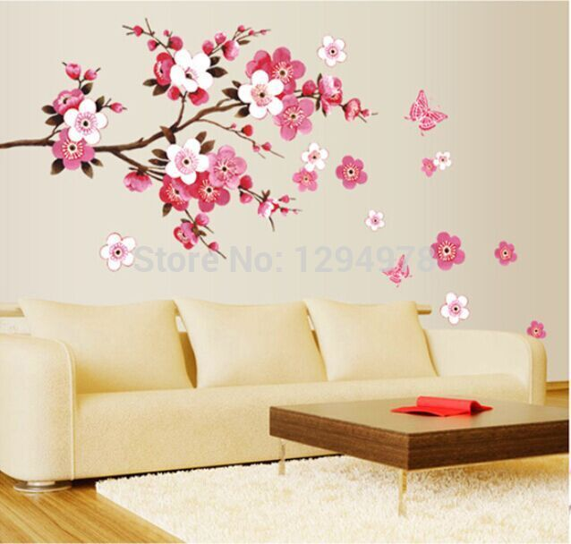 PVC Pink Flowers Butterfly Large Wall Stickers Marriage Room Living Room  Bedroom Childrenu0027s Room Decoration Wall Mirror Decals In Wall Stickers From  Home ...