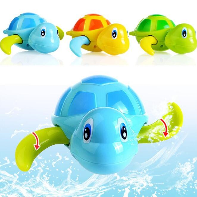 Newborn Cute Cartoon Animal Tortoise Baby Bath Toy Infant Swim Turtle Chain Clockwork Cl ...