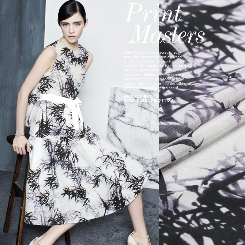 SLK09 50X140CM Summer Chinese Ink Bamboo Printed Cotton Fabric For Women Dress 2018 Silk Scarve Silk Clothing DIY Fabric For Sew