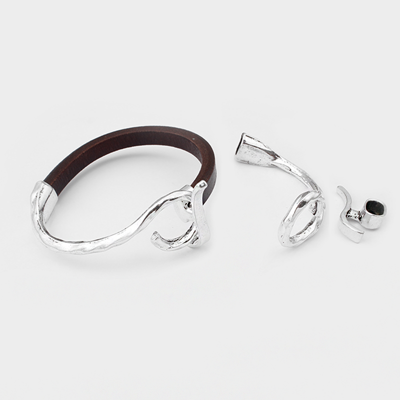 2pcs Hammered Half Cuff Bangle Toggle Clasp For 10x6mm Licorice Leather Bracelet Findings