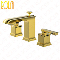 Rolya Luxurious Square Rose Golden/Chrome/ORB 3 Hole Bathroom Lavatory Faucet Patent Design Solid Brass Basin Tap Mixer Set