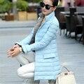 2016 Новый Высокое Качество, Модные Женские Длинные Случайные Ватные Пуховики Белая Утка Пальто Зимняя Куртка D807