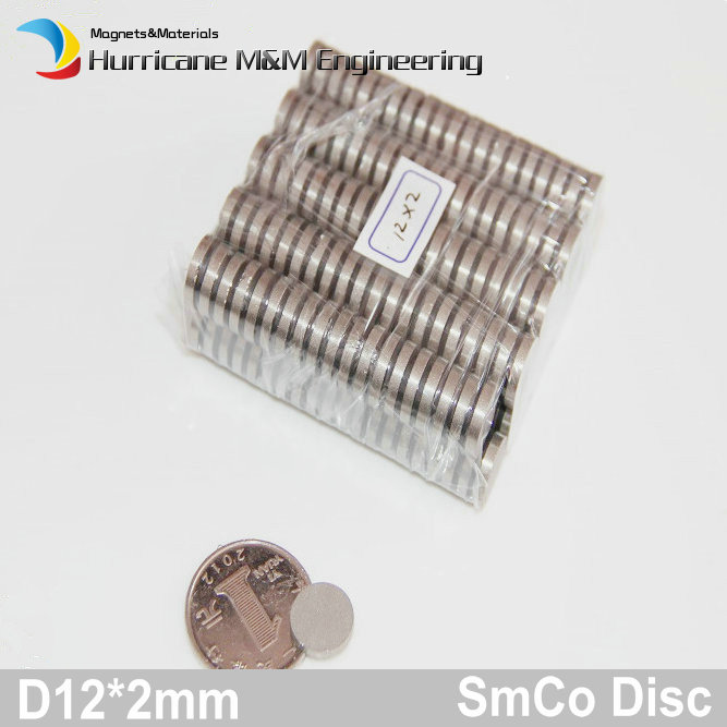 1 блок smco Магнит диск диаметром 12x2 мм класс YXG24H 350 градусов C Рабочая температура постоянных магнитов Редкоземельные магниты