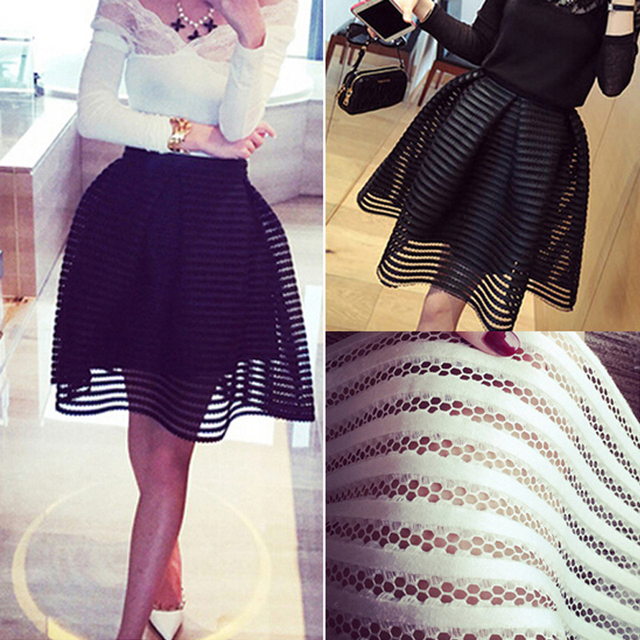 2017 summer autumn new style sexy fashion skirt womens striped hollow-out fluffy skirt swing skirt ladies Black/White Ball Gown
