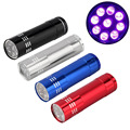 UV high-quality Mini Black Aluminum Ultra Violet 9 LED Flashlight Torch Light Lamp  penlight free shipping