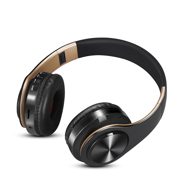 Free shipping new Gold colors Bluetooth Headphones Wireless Stereo Headsets earbuds with Mic /TF Card 1