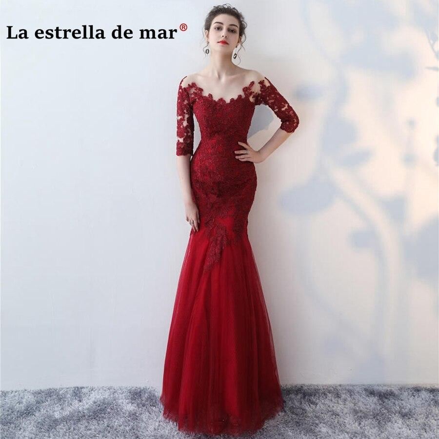vestido de festa longo para casamento2018 Lace Half sleeve sexy mermaid to see Burgundy red   bridesmaid     dresses   cheap Wedding